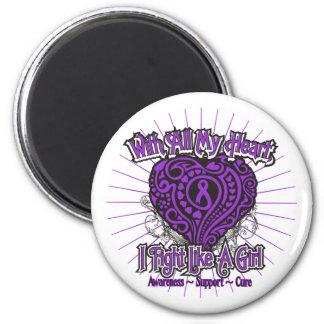 Pancreatic Cancer Heart I Fight Like A Girl Fridge Magnets