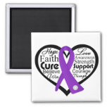 Pancreatic Cancer Heart Ribbon Collage Refrigerator Magnet