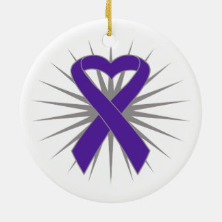 Pancreatic Cancer Heart Ribbon Round Ceramic Decoration