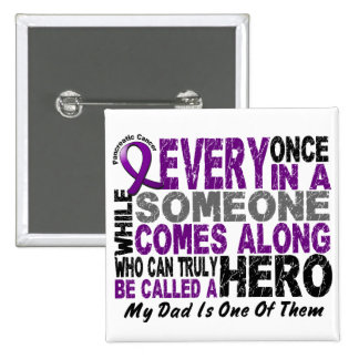 Pancreatic Cancer HERO COMES ALONG 1 Dad 15 Cm Square Badge