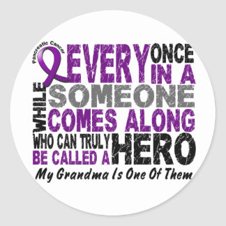 Pancreatic Cancer HERO COMES ALONG 1 Grandma Classic Round Sticker