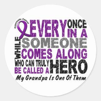 Pancreatic Cancer HERO COMES ALONG 1 Grandpa Round Sticker