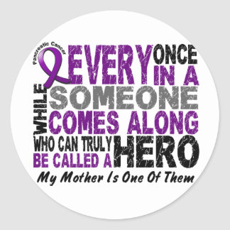 Pancreatic Cancer HERO COMES ALONG 1 Mother Round Sticker