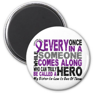 Pancreatic Cancer HERO COMES ALONG 1 Sister-In-Law 6 Cm Round Magnet