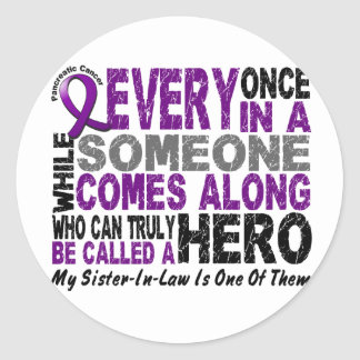 Pancreatic Cancer HERO COMES ALONG 1 Sister-In-Law Sticker