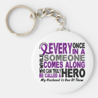 Pancreatic Cancer HERO COMES ALONG 1 Wife Basic Round Button Key Ring