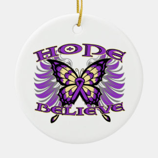 Pancreatic Cancer Hope Believe Butterfly Double-Sided Ceramic Round Christmas Ornament