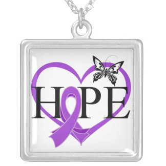 Pancreatic Cancer Hope Butterfly Heart Décor Silver Plated Necklace