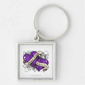 Pancreatic Cancer Hope Faith Dual Hearts Silver-Colored Square Key Ring