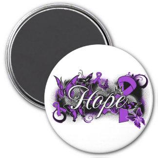 Pancreatic Cancer Hope Garden Ribbon 7.5 Cm Round Magnet