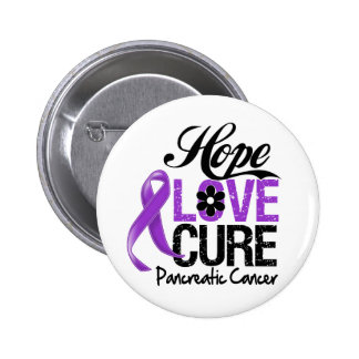 Pancreatic Cancer Hope Love Cure 6 Cm Round Badge
