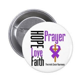 Pancreatic cancer Hope Love Faith Prayer Cross 6 Cm Round Badge