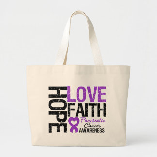 Pancreatic Cancer Hope Love Faith Tote Bags