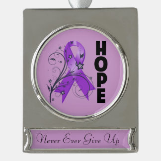 Pancreatic Cancer Hope Ribbon Silver Plated Banner Ornament