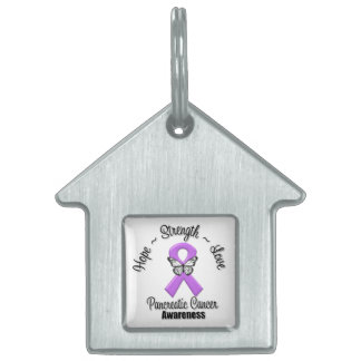 Pancreatic Cancer Hope Strength Love Pet Name Tag