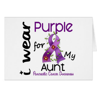 Pancreatic Cancer I Wear Purple For My Aunt 43 Greeting Card