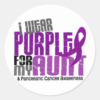 Pancreatic Cancer I Wear Purple For My Aunt 6.2 Round Sticker