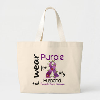 Pancreatic Cancer I Wear Purple For My Husband 43 Large Tote Bag