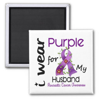 Pancreatic Cancer I Wear Purple For My Husband 43 Magnet