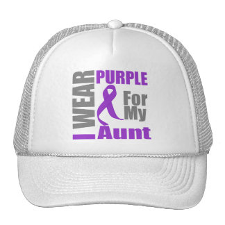 Pancreatic Cancer I Wear Purple Ribbon Aunt Mesh Hats