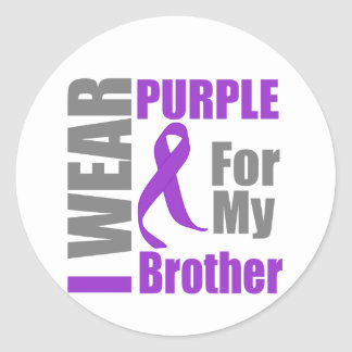 Pancreatic Cancer I Wear Purple Ribbon Brother Round Stickers