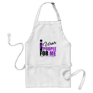 Pancreatic Cancer I Wear Purple Ribbon For Me Adult Apron