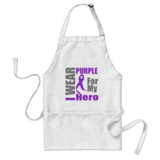 Pancreatic Cancer I Wear Purple Ribbon For My Hero Adult Apron