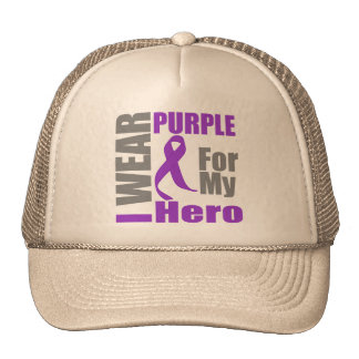 Pancreatic Cancer I Wear Purple Ribbon For My Hero Hats