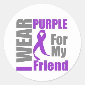 Pancreatic Cancer I Wear Purple Ribbon Friend Round Sticker