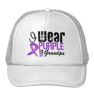 Pancreatic Cancer I Wear Purple Ribbon GRANDPA Trucker Hat
