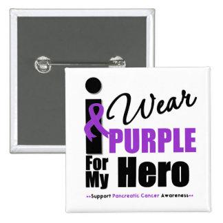 Pancreatic Cancer I Wear Purple Ribbon Hero Buttons