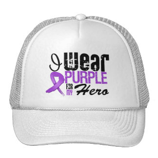 Pancreatic Cancer I Wear Purple Ribbon HERO Trucker Hats