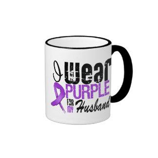 Pancreatic Cancer I Wear Purple Ribbon HUSBAND Mug