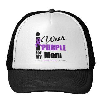 Pancreatic Cancer I Wear Purple Ribbon Mom Hat