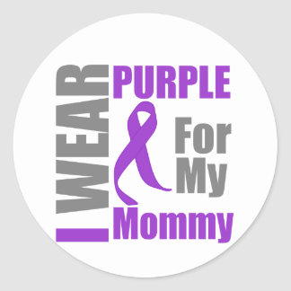 Pancreatic Cancer I Wear Purple Ribbon Mommy Round Sticker