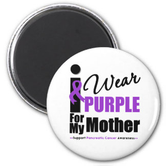 Pancreatic Cancer I Wear Purple Ribbon Mother Magnet
