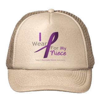 Pancreatic Cancer I Wear Purple Ribbon Niece Cap