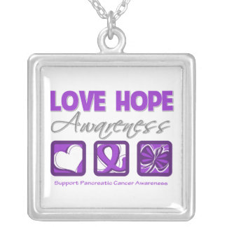 Pancreatic Cancer Love Hope Awareness Square Pendant Necklace