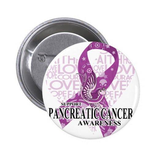 Pancreatic Cancer Love Hope Bird Button