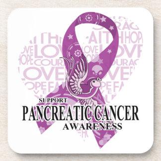 Pancreatic Cancer Love Hope Bird Beverage Coaster