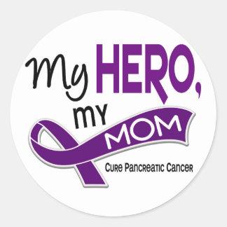Pancreatic Cancer MY HERO MY MOM 42 Round Sticker