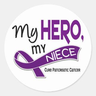 Pancreatic Cancer MY HERO MY NIECE 42 Round Sticker