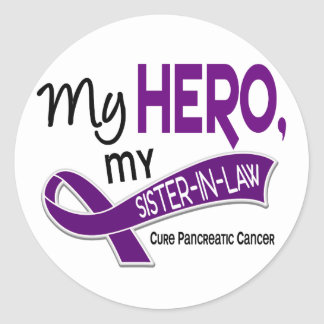 Pancreatic Cancer MY HERO MY SISTER-IN-LAW 42 Round Sticker