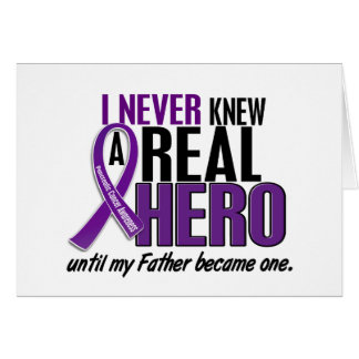 Pancreatic Cancer NEVER KNEW A HERO 2 Father Greeting Card
