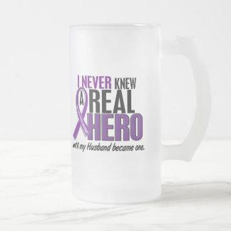 Pancreatic Cancer NEVER KNEW A HERO 2 Husband Frosted Glass Mug