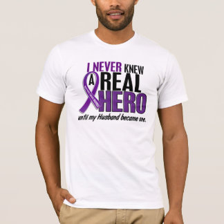 Pancreatic Cancer NEVER KNEW A HERO 2 Husband T-Shirt