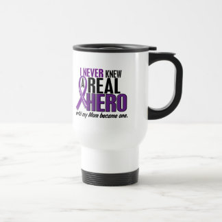 Pancreatic Cancer NEVER KNEW A HERO 2 Mom 15 Oz Stainless Steel Travel Mug