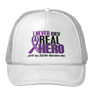 Pancreatic Cancer NEVER KNEW A HERO 2 Sister Trucker Hat
