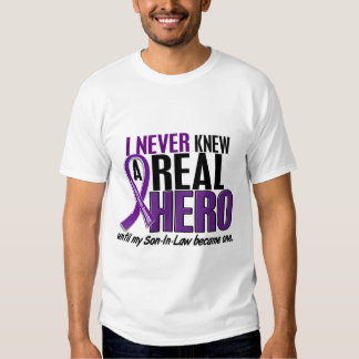 Pancreatic Cancer NEVER KNEW A HERO 2 Son-In-Law Tee Shirt