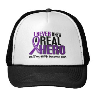 Pancreatic Cancer NEVER KNEW A HERO 2 Wife Mesh Hats